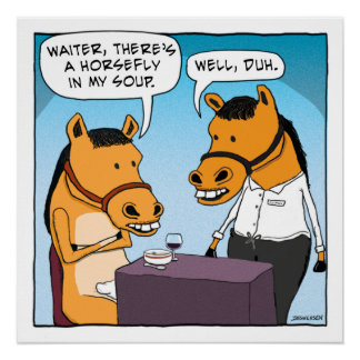 Funny Horse Complains About Horsefly in Soup