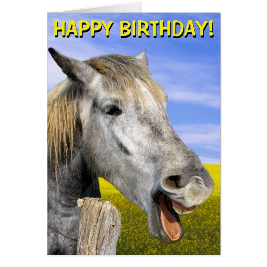 Funny horse customizable greetings card