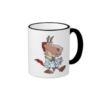 funny horse doc doctor cartoon ringer coffee mug