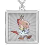 funny horse doc doctor cartoon necklace