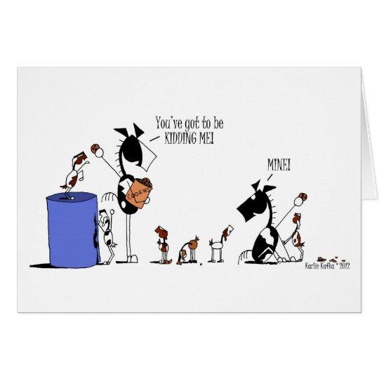 Funny Horse & Goat Kids Cartoon Card