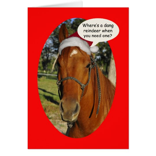 Funny horse in a Santa Hat Christmas Greeting