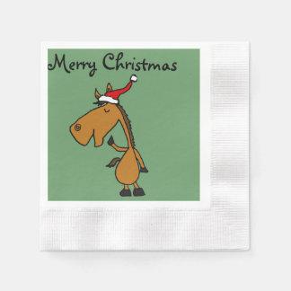 Funny Horse in Santa Hat Christmas Design Paper Serviettes