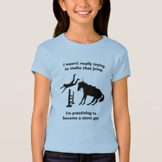 Funny Horse Jumping Stunt Girl In Training T-Shirt