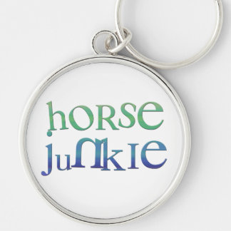 Funny Horse Junkie Gifts & Tees Silver-Colored Round Key Ring