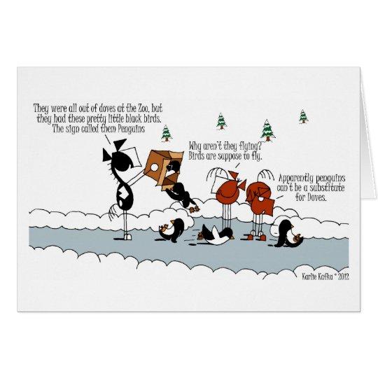 Funny Horse & Penguin Winter Cartoon Card