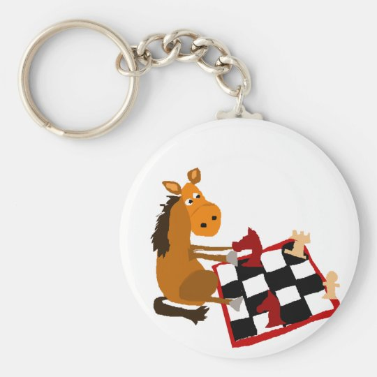 Funny Horse Playing Chess Art Original Basic Round Button Key Ring