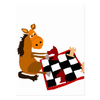 Funny Horse Playing Chess Art Original Postcard