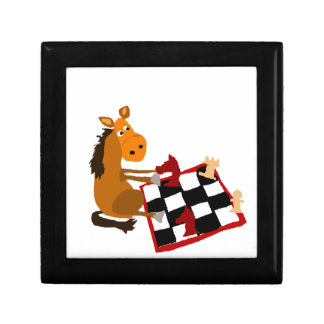 Funny Horse Playing Chess Art Original Small Square Gift Box
