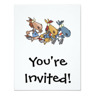 funny horse racing cartoon 11 cm x 14 cm invitation card