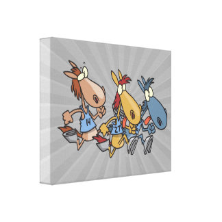 funny horse racing cartoon gallery wrapped canvas