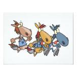 "funny horse racing cartoon 6.5"" x 8.75"" invitation card"