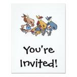 "funny horse racing cartoon 4.25"" x 5.5"" invitation card"