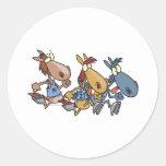 funny horse racing cartoon round sticker
