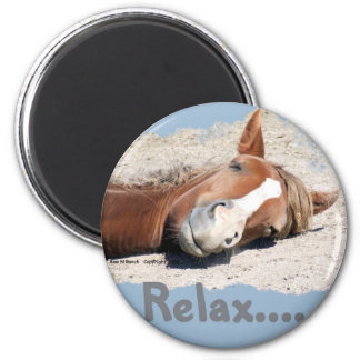 Funny Horse: Relax 6 Cm Round Magnet