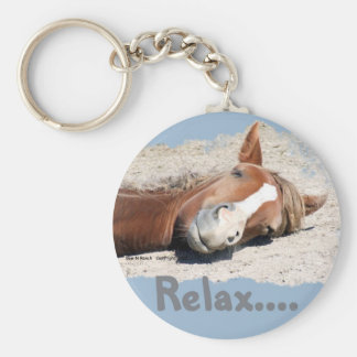 Funny Horse: Relax Basic Round Button Key Ring