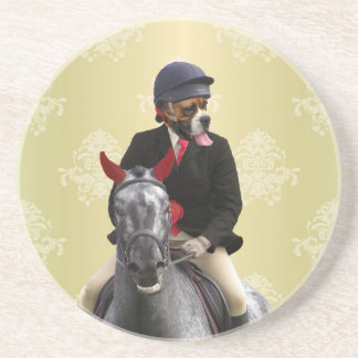 Funny horse rider character beverage coaster