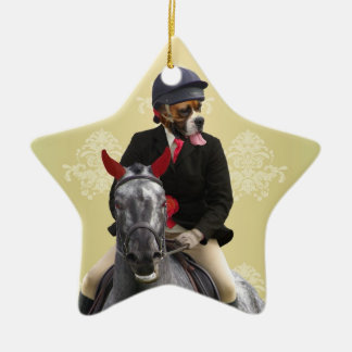 Funny horse rider character christmas ornament