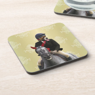 Funny horse rider character drink coasters