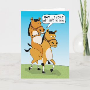 Funny Horse Riding Birthday Card