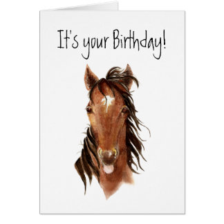 Funny Horse Sticking out Tongue, Insult Birthday Greeting Card