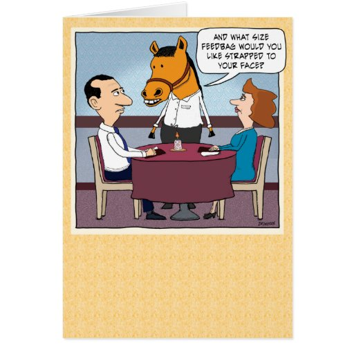 Funny Horse Waiter Birthday Greeting Card