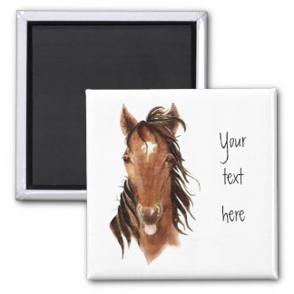 Funny Horse, with attitude,Watercolor Animal Humor Square Magnet