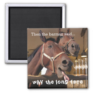 Funny Horses Square Magnet