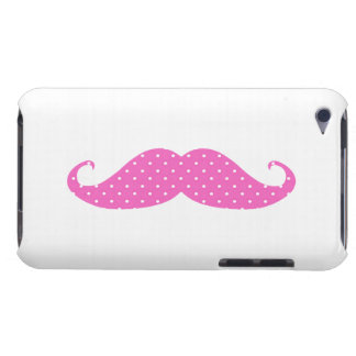 Funny Hot Pink Girly  Polka Dots Mustache iPod Touch Case