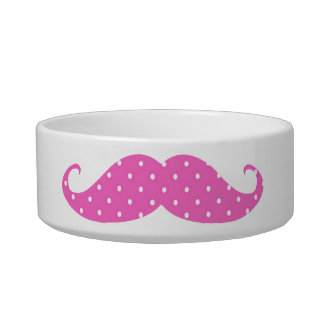 Funny Hot Pink Girly  Polka Dots Mustache Pet Water Bowls
