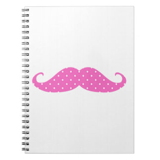 Funny Hot Pink Girly  Polka Dots Mustache Spiral Notebook