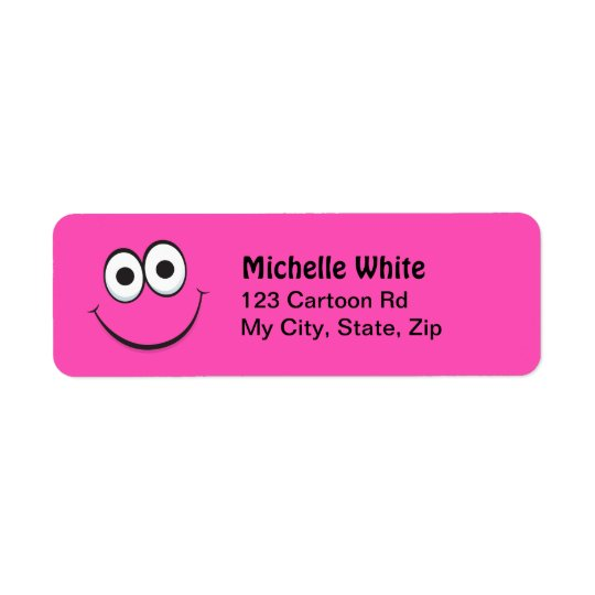 Funny hot pink smiling face return address labels