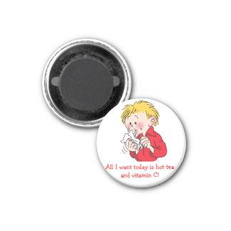 Funny Hot Tea And Vitamin C Custom Round Magnet