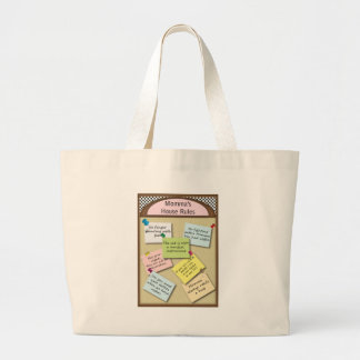 Funny  House Rules Large Tote Bag