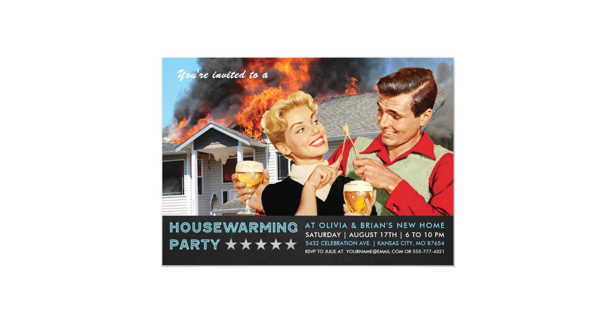 Funny Housewarming Party Invitations   On Fire   Zazzle.co.uk