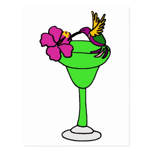 Funny Hummingbird and Hibiscus on Margarita Drink Post Cards