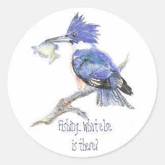 Funny, Humor Fishing - Kingfisher Classic Round Sticker