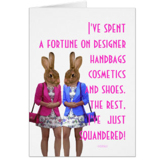 Funny humorous womens humor shopping quote card