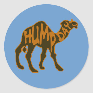 Funny Hump Day with Camel Round Stickers