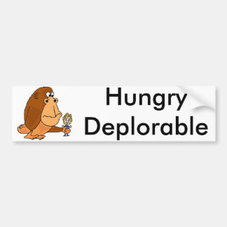 Funny Hungry Deplorable Ape with Hillary Political Bumper Sticker