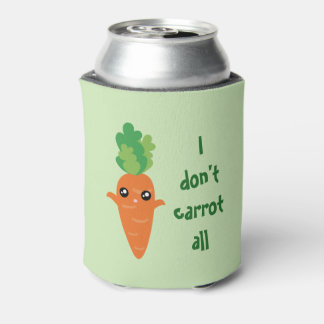 Funny I don't Carrot All Food Pun Humor Cartoon Can Cooler