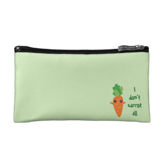 Funny I don't Carrot All Food Pun Humor Cartoon Cosmetic Bag