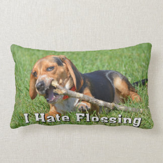 Funny I Hate Flossing Beagle Chewing On A Stick Lumbar Cushion