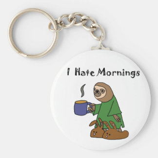 Funny I Hate Mornings Sloth Cartoon Basic Round Button Key Ring