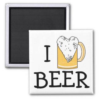 Funny I Heart Beer Foam Refrigerator Magnets