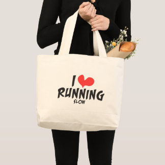 Funny I heart (love) Running SLOW Jumbo Tote Bag