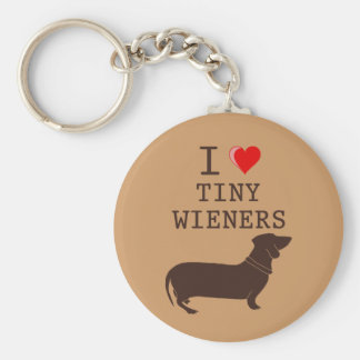 Funny I Love Tiny Wiener Dachshund Key Ring