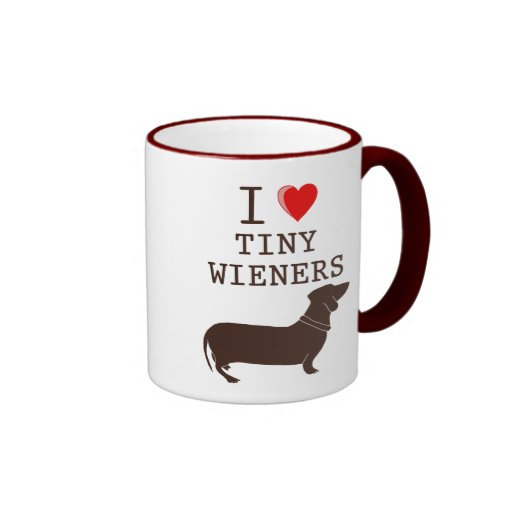 Funny I Love Tiny Wiener Dachshund Coffee Mugs