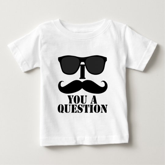 Funny I Moustache You A Question Black Sunglasses Baby T-Shirt