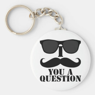 Funny I Moustache You A Question Black Sunglasses Basic Round Button Key Ring